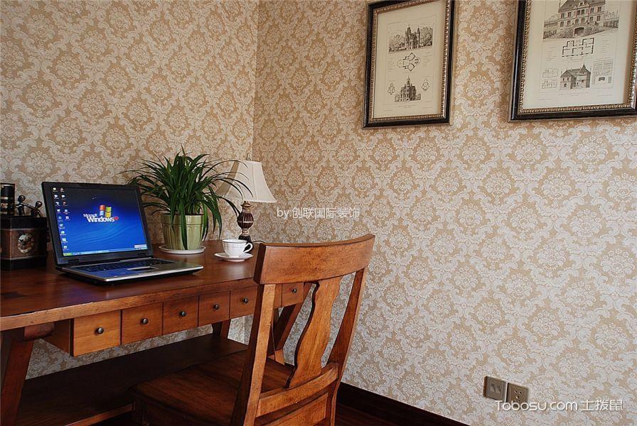 书房咖啡色书桌田园风格装修效果图