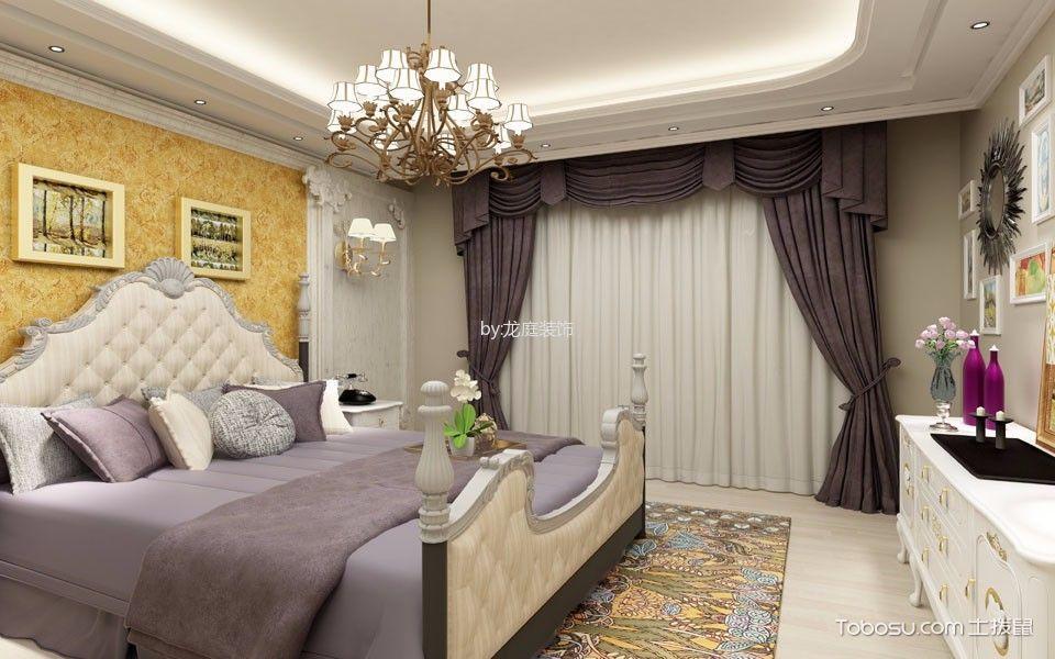 卧室黄色照片墙美式风格装饰图片