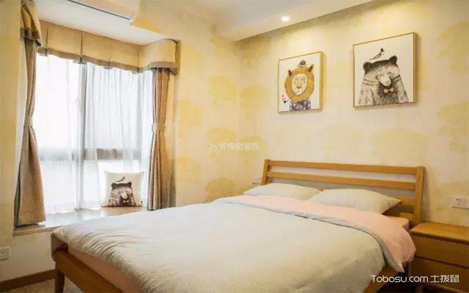 卧室黄色照片墙现代风格装潢效果图