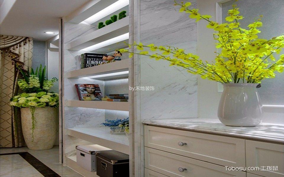 客厅白色书架简约风格装潢效果图