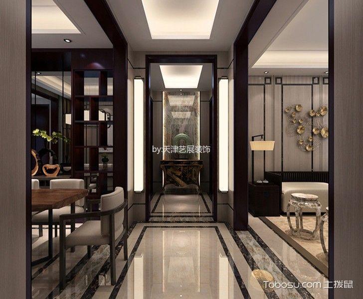 玄关米色地砖新中式风格装修效果图