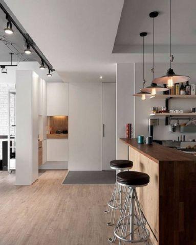 厨房吧台后现代风格装潢效果图