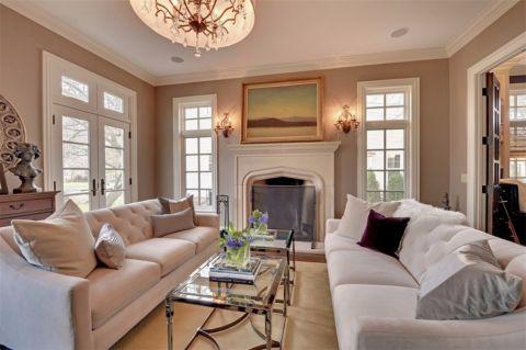 客厅茶几简欧风格装修设计图片