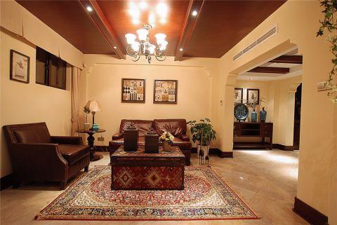 田园风格140平米三室两厅室内装修效果图