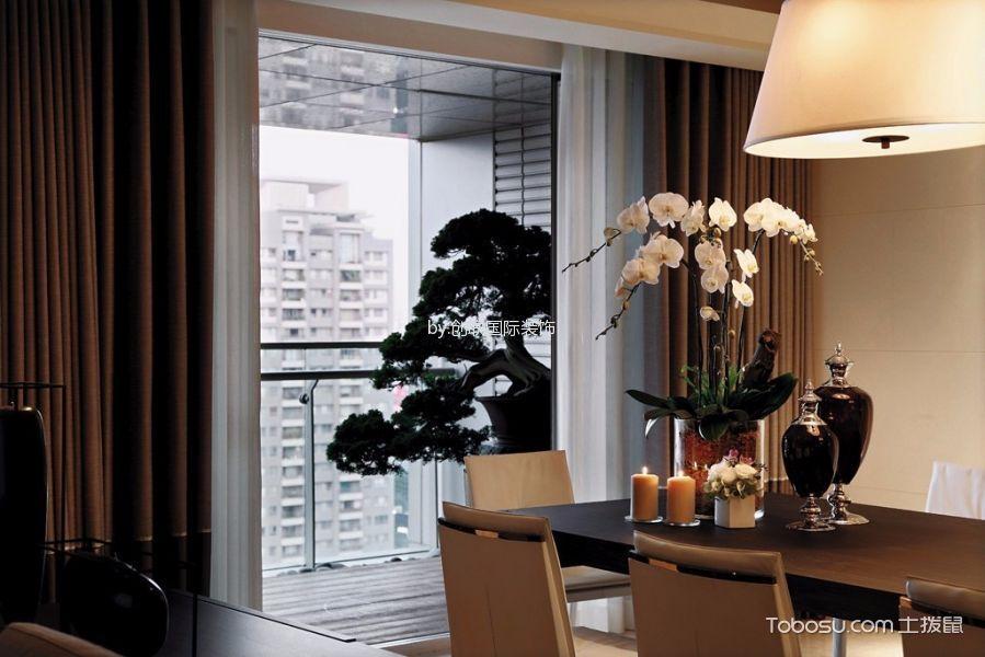 餐厅咖啡色窗帘简约风格装潢图片