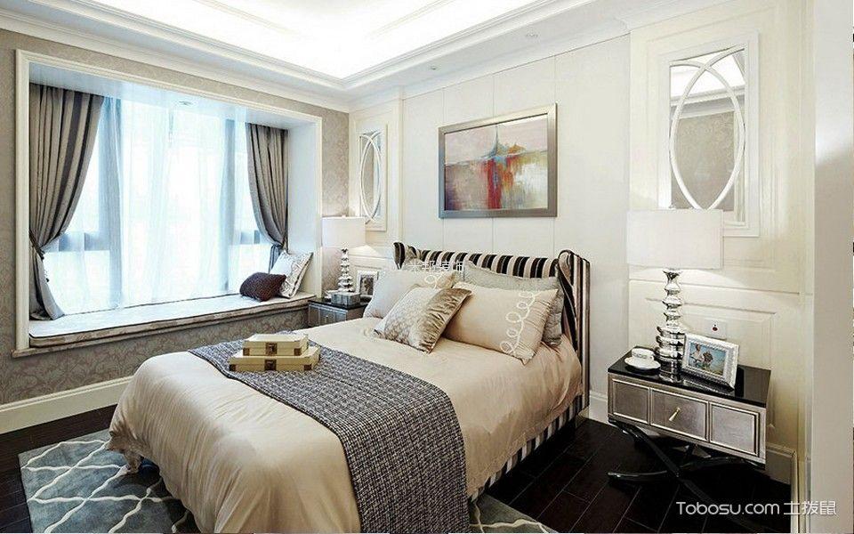 卧室灰色飘窗法式风格装修图片