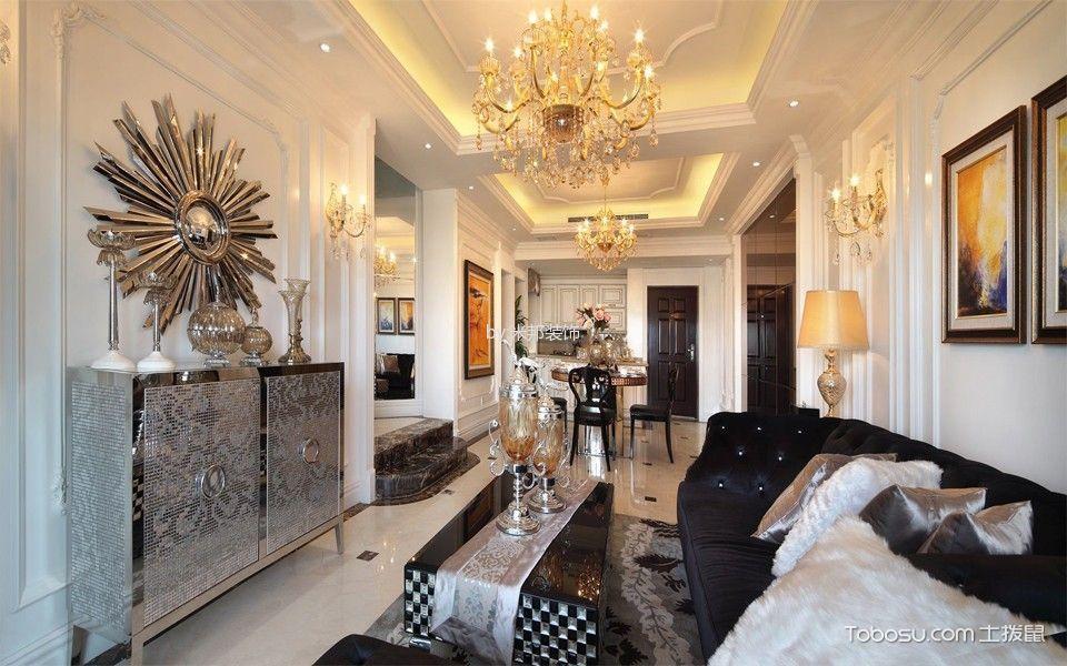 客厅彩色背景墙法式风格装修设计图片