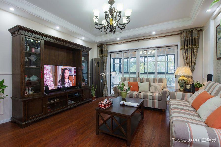 客厅咖啡色茶几美式风格装修图片