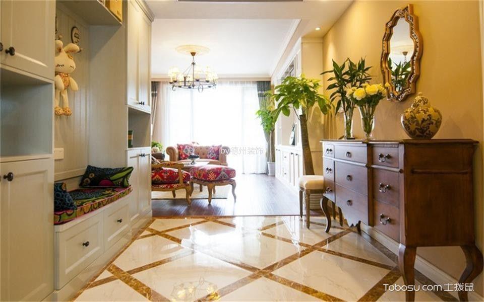 玄关黄色地砖美式风格装潢图片