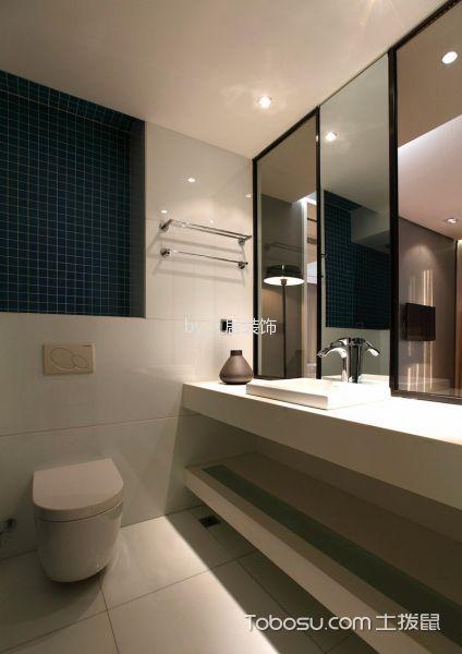 卫生间白色洗漱台现代简约风格装修效果图