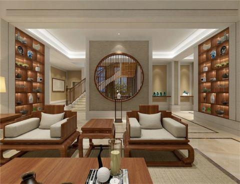 客厅博古架简中风格装修设计图片