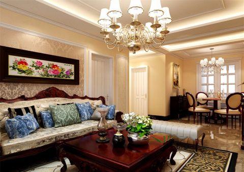 客厅黄色背景墙简欧风格装饰设计图片
