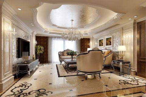 客厅咖啡色窗帘欧式风格效果图