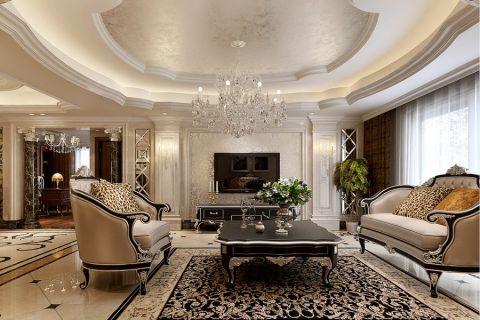 客厅黑色茶几欧式风格装修效果图