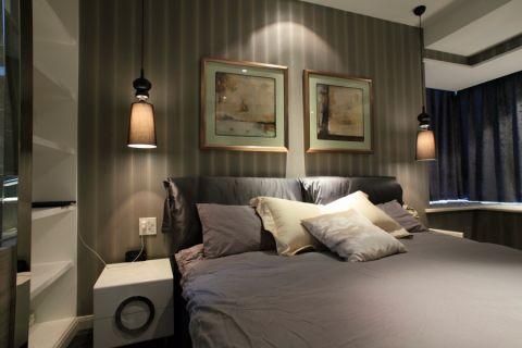 卧室彩色背景墙简约风格装潢效果图