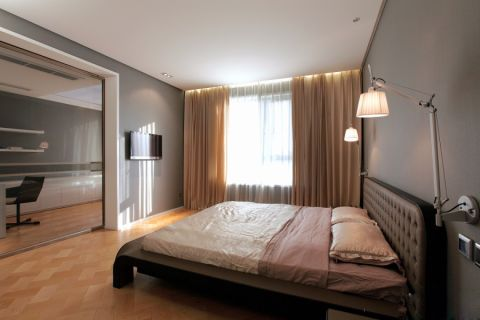 卧室黄色窗帘现代简约风格效果图
