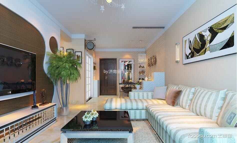 客厅黑色茶几现代简约风格装潢图片_土拨鼠装修效果图