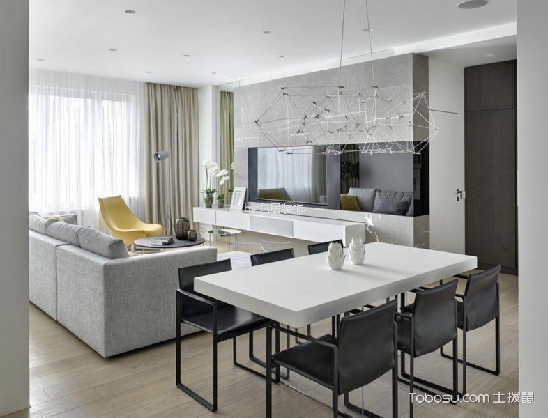 现代简约风格60平米一居室新房装修效果图