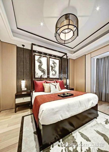 卧室咖啡色床头柜新中式风格装潢设计图片