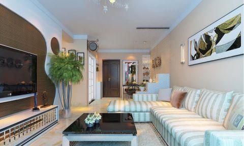 现代简约风格107平米楼房室内装修效果图