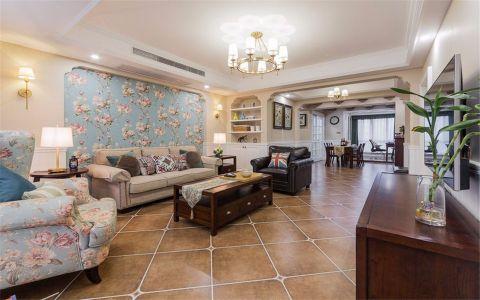 美式风格137平米三室两厅新房装修效果图