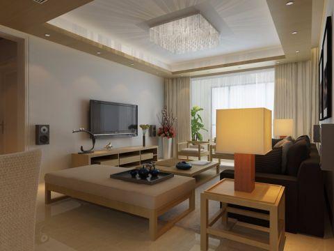 客厅窗帘日式风格装潢图片
