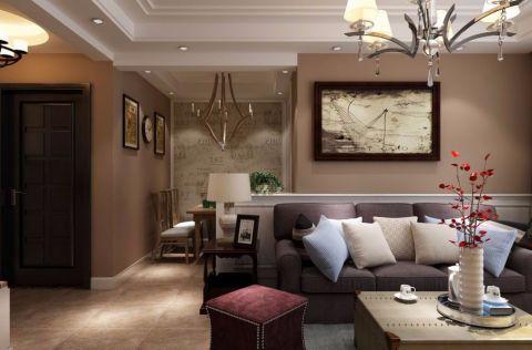客厅咖啡色沙发混搭风格装潢设计图片