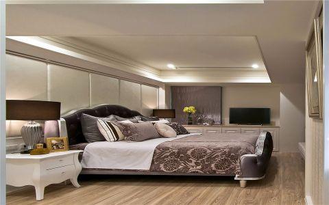 卧室白色床头柜简欧风格装潢设计图片