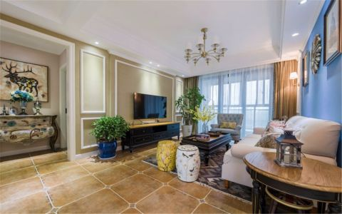 客厅电视柜美式风格装潢效果图