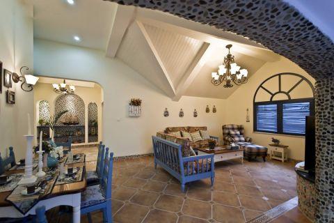 地中海风格91平米三室两厅新房装修效果图