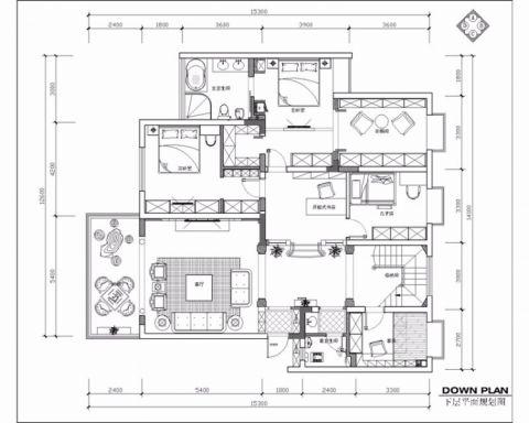 简欧风格280平米别墅室内装修效果图