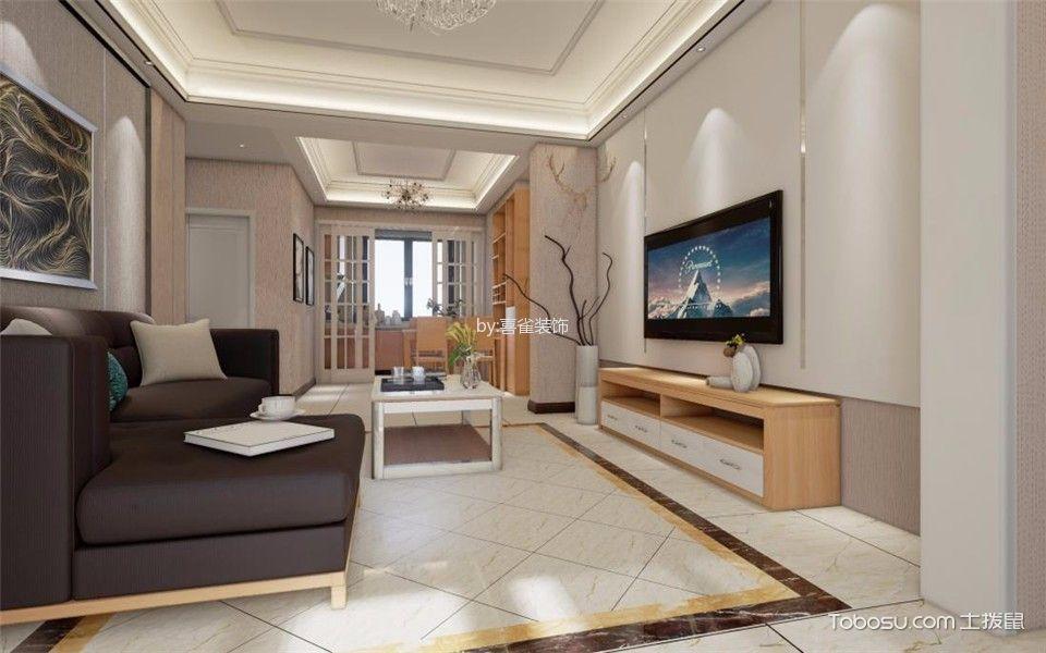 混搭风格95平米三室两厅新房装修效果图