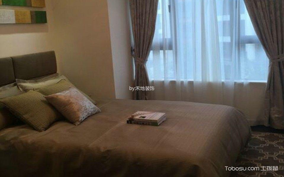 卧室咖啡色窗帘东南亚风格装潢图片