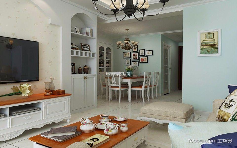 客厅白色电视柜田园风格装修图片
