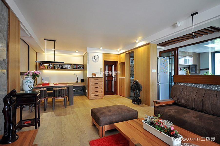 客厅黄色地板砖美式风格装饰设计图片