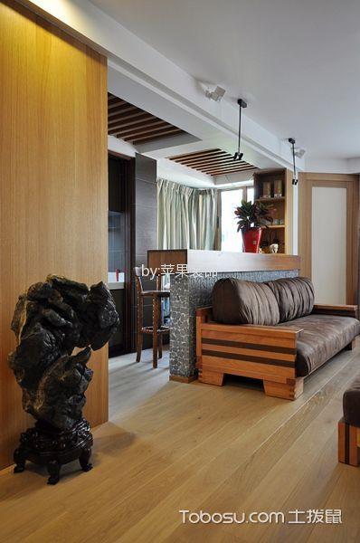 客厅咖啡色地板砖美式风格装修设计图片