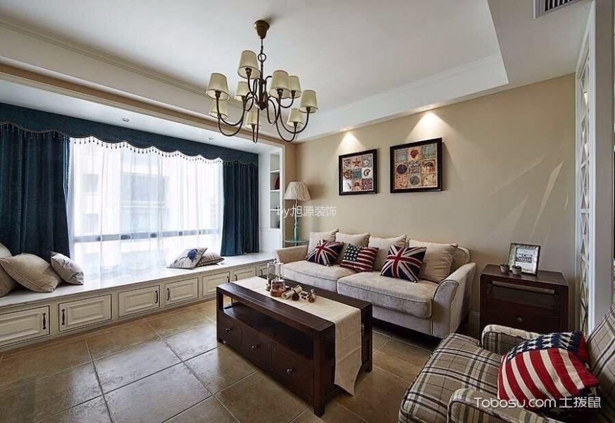 客厅白色飘窗美式风格装饰设计图片