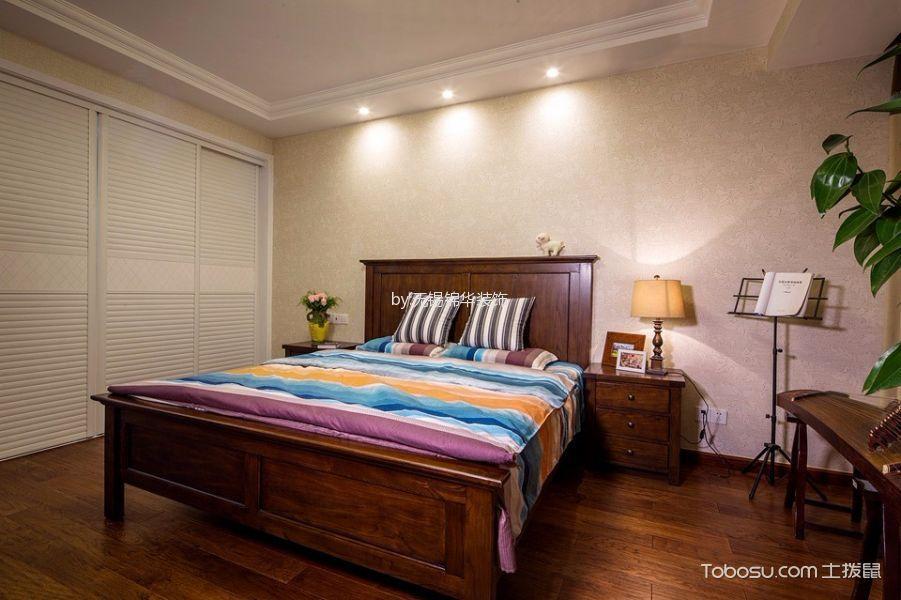 卧室咖啡色床头柜美式风格装修设计图片