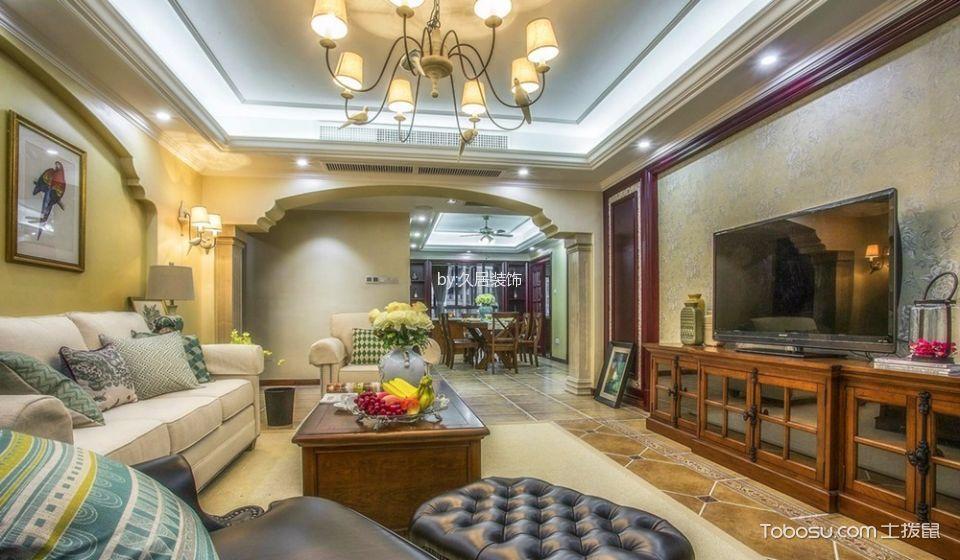 客厅咖啡色电视柜田园风格装潢图片