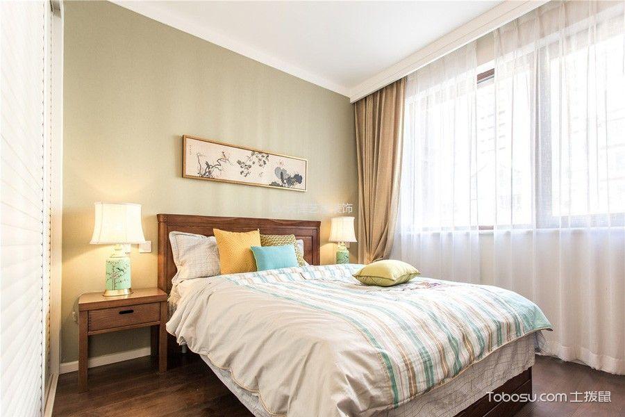 卧室黄色背景墙北欧风格装饰效果图