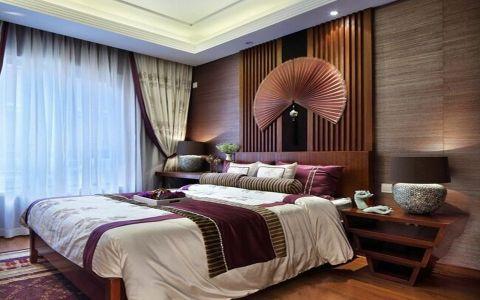 东南亚风格107平米三室两厅室内装修效果图