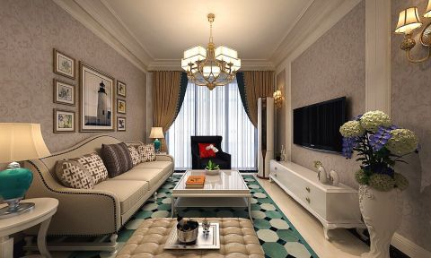 简欧风格89平米两室两厅室内装修效果图