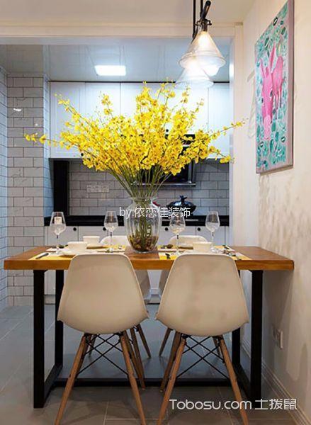 餐厅咖啡色餐桌混搭风格效果图