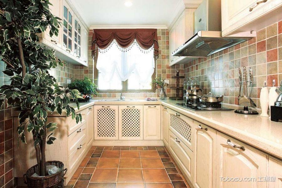 厨房白色橱柜地中海风格装饰效果图
