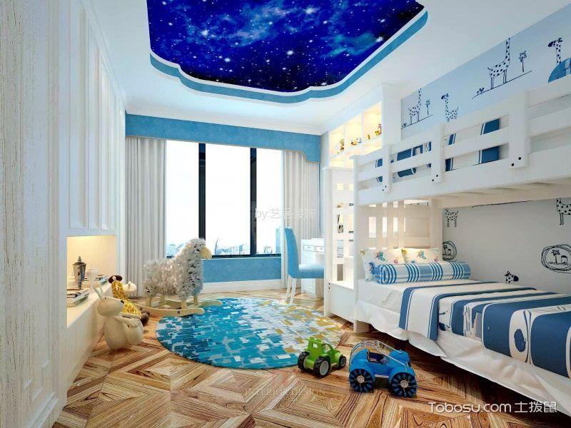 儿童房白色窗帘现代风格装修设计图片