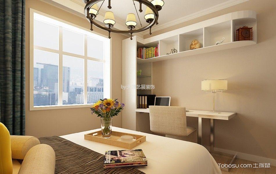 儿童房白色书桌简约风格装潢图片