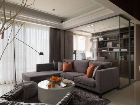 客厅咖啡色窗帘北欧风格装潢图片