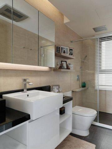 卫生间黄色背景墙北欧风格装潢设计图片
