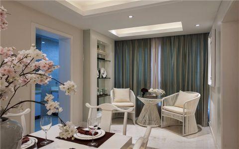 客厅绿色窗帘简欧风格装饰图片