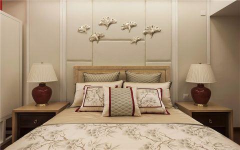 卧室米色背景墙简欧风格装饰设计图片